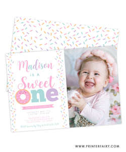 Sweet One Birthday Invitation with Photo