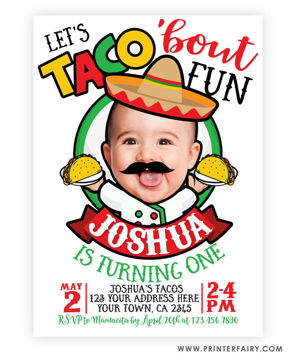 Taco Birthday Party Invitation with Photo