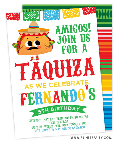 Taquiza Birthday Invitation