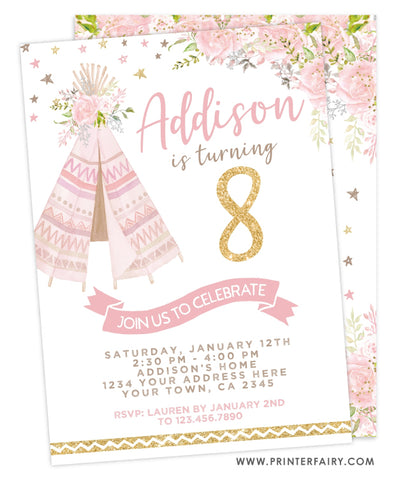 Teepee Birthday Invitation