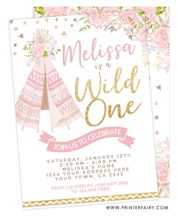 Teepee Wild One Invitation