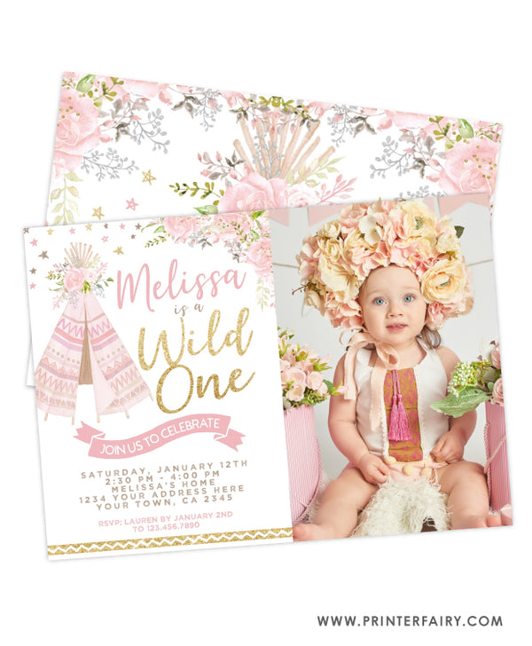 Teepee Wild One Invitation with Photo