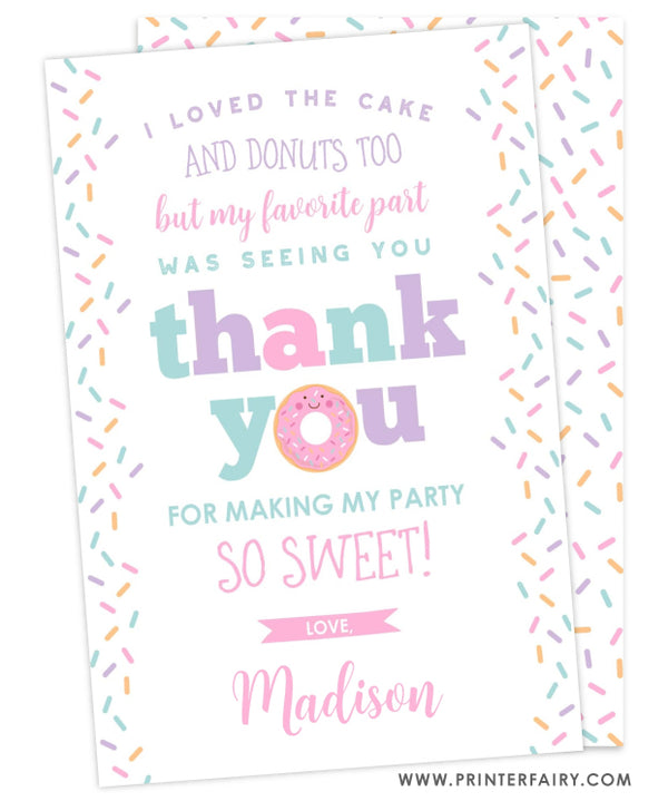 Donut Party Thank You Card