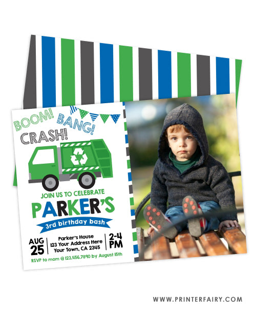 Trash Truck Birthday Party Invitation with photo