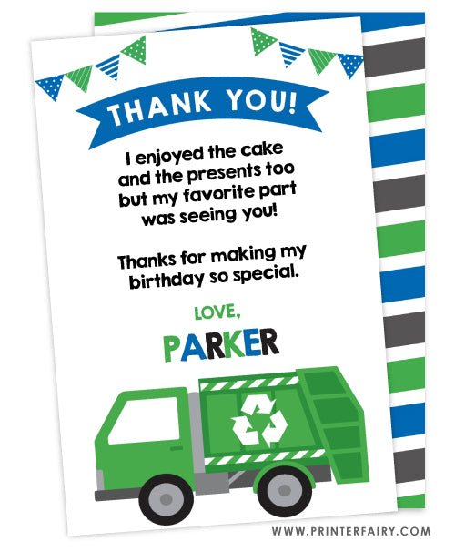 Trash Truck Birthday Party Thank You Card