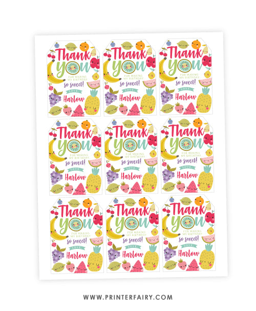TuttiFrutti Birthday Favor Tags