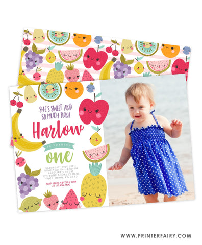 TuttiFrutti Birthday Invitation with photo