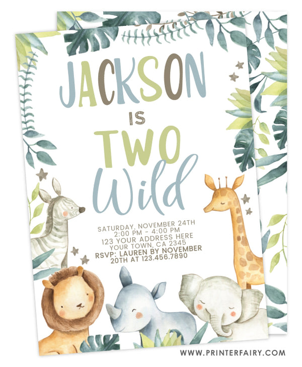 Two Wild Jungle Birthday Invitation