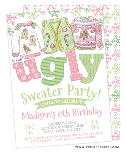 Ugly Sweater Birthday Party Invitation
