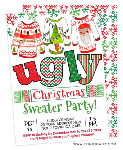 Ugly Sweater Christmas Invitation