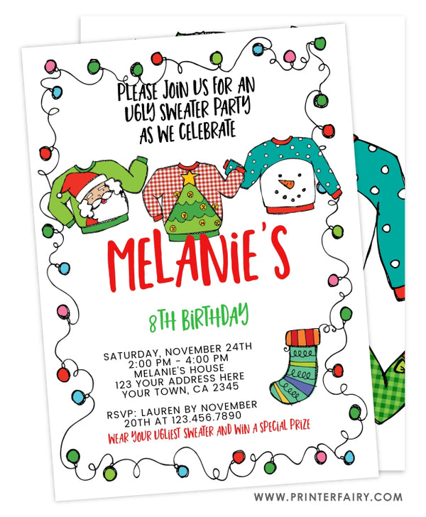 Ugly Sweater Birthday Invitation