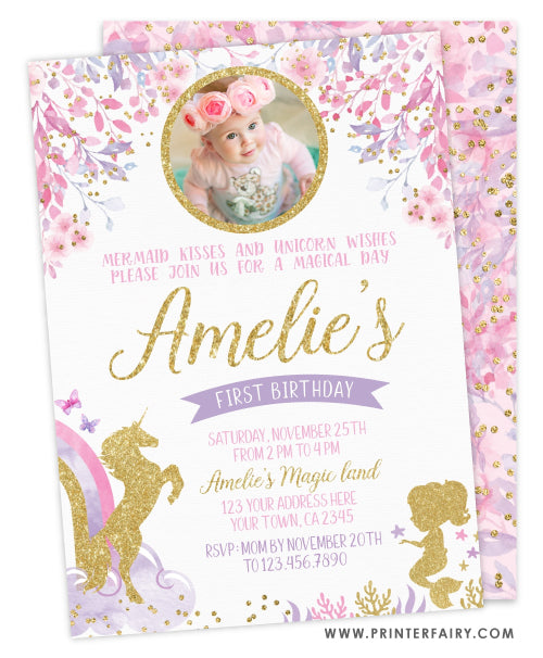 Unicorn & Mermaid Birthday Party Invitation with Photo