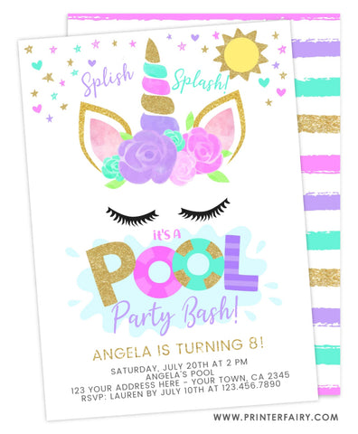 Unicorn Pool Party Birthday Invitation