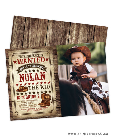 Western Birthday Invitation with Photo
