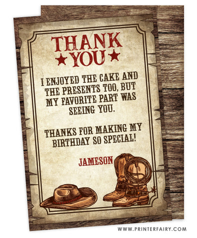 Western Party Thank You Card