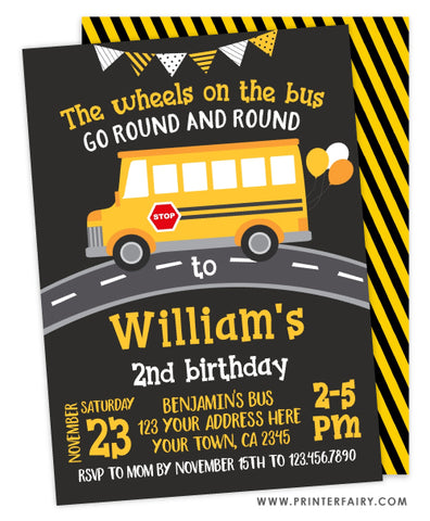 Wheels on the Bus Birthday Party Invitation