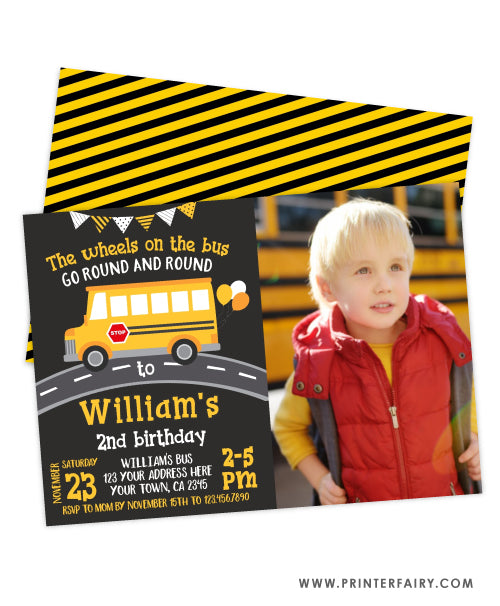 Wheels on the Bus Birthday Party Invitation with Photo