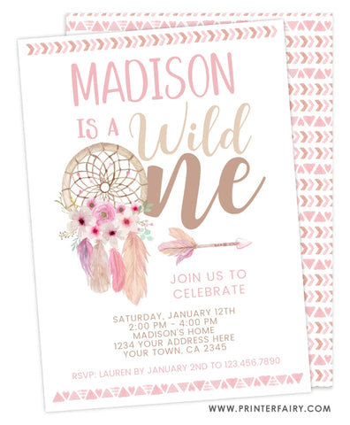 Wild One Dreamcatcher Invitation