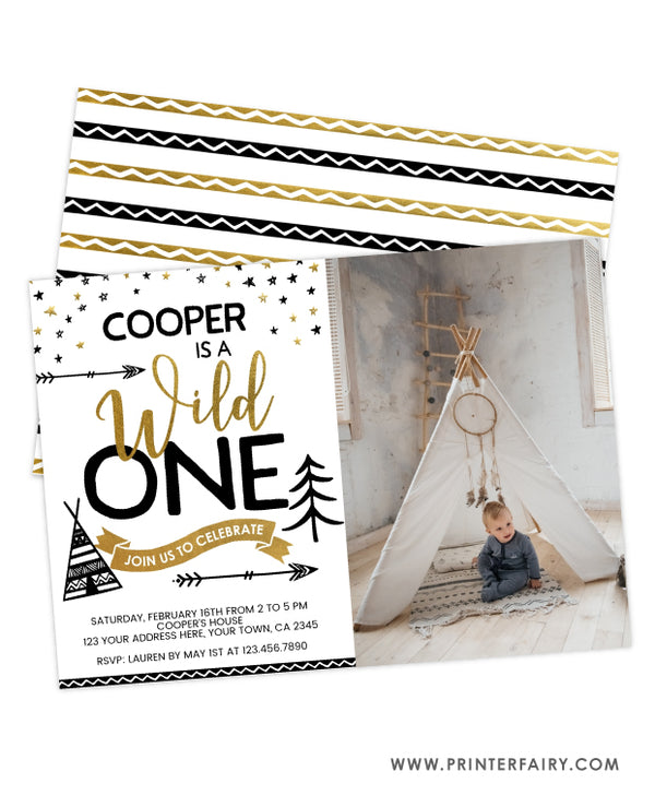 Wild One Birthday Invitation with Photo