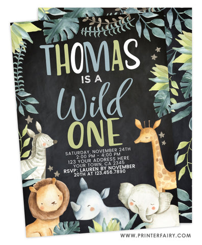 Wild One Jungle Birthday Invitation