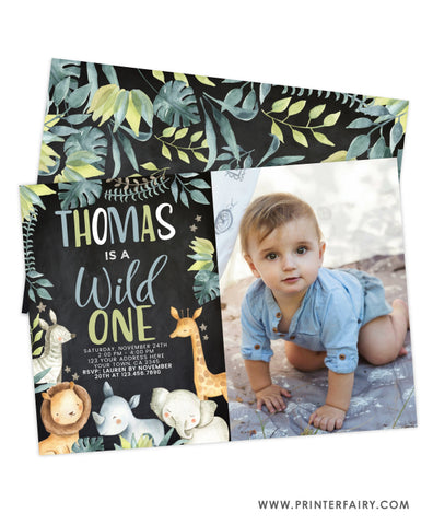 Wild One Jungle Birthday Invitation with Photo