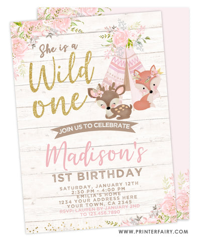 Wild One Woodland Invitation