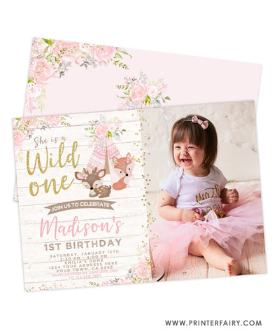 Wild One Woodland Invitation with Photo