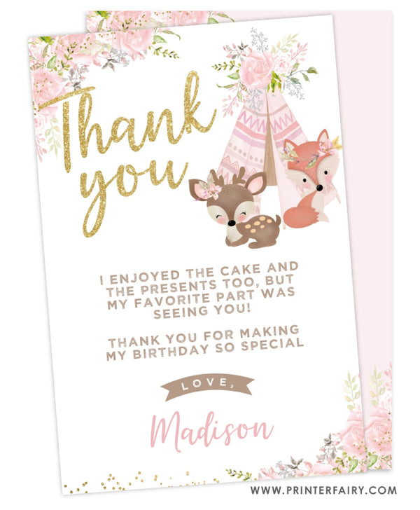 Wild One Woodland Thank You Card