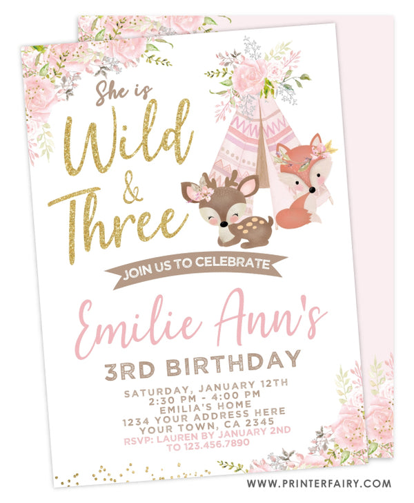 Wild & Three Birthday Invitation