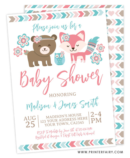 Woodland Girl BabyShower Invitation