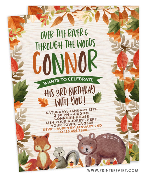 Woodland Leaves Invitation