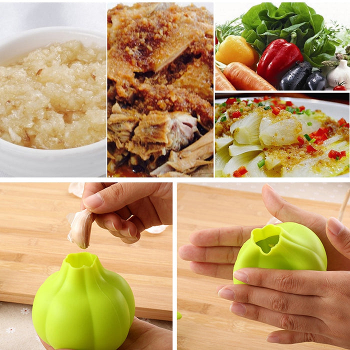 Silicone garlic crusher