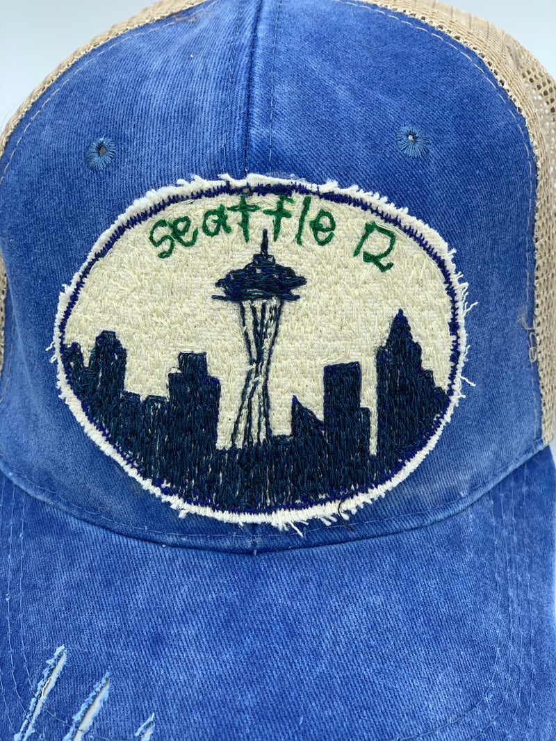 Blink Blink Trucker Hat, Seattle Skyline