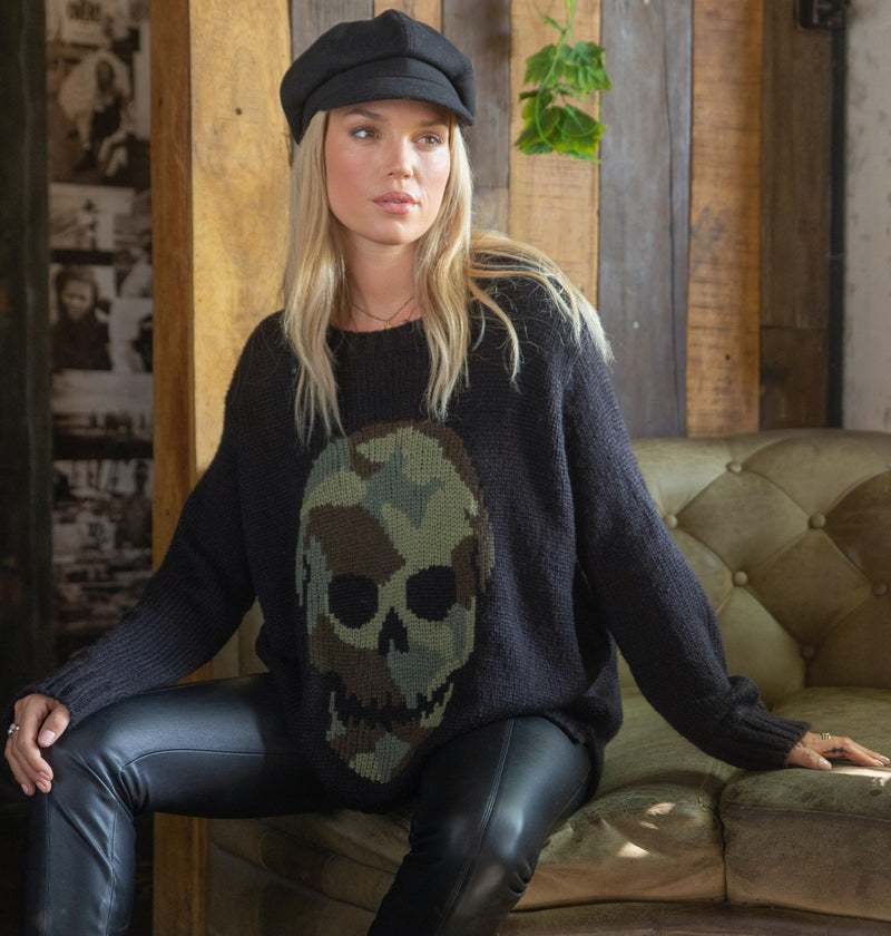 Wooden Ships Women's Camo Skull Chunky Crew Neck Sweater