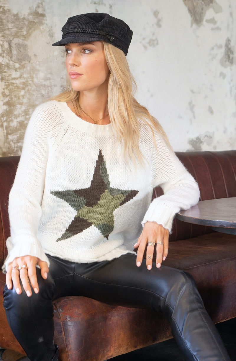 Wooden Ships Women's Camo Star Raglan Crew Neck Sweater