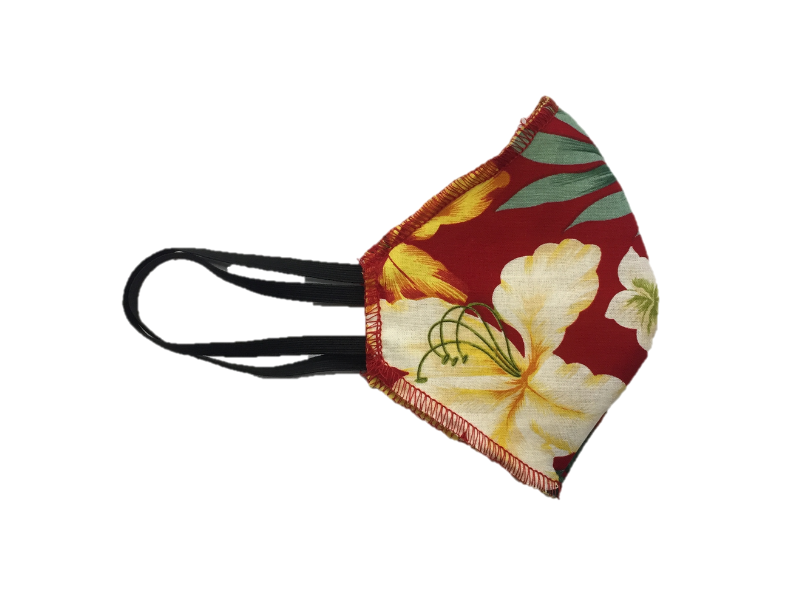 Howard & Marge Face Mask, Red Aloha