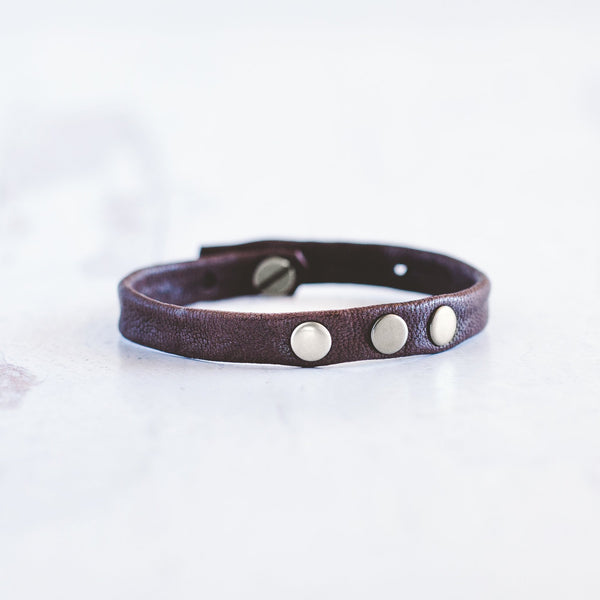 3 - Dot Leather Bracelet Stacker - Brushed Silver