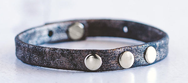 3 - Dot Leather Bracelet Stacker - Silver