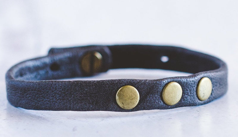 3 - Dot Leather Bracelet Stacker - Antique Brass