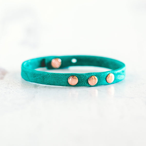 3 - Dot Leather Bracelet Stacker - Rose Gold