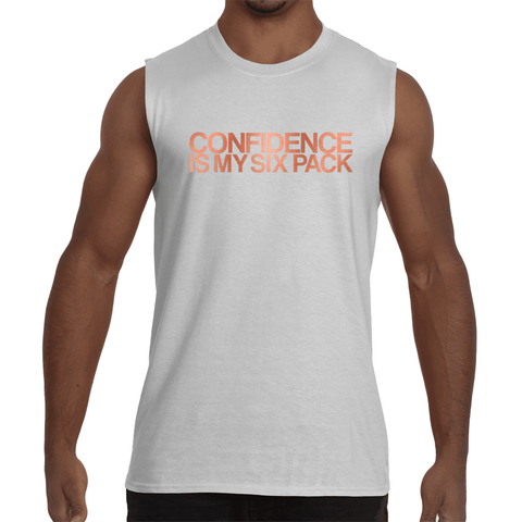 "White ""CONFIDENCE IS MY SIX PACK"" Sleeveless T-Shirt"