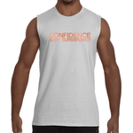 "White ""CONFIDENCE IS MY SUPERPOWER"" Sleeveless T-Shirt"