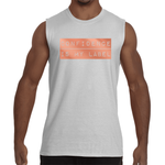 "White ""CONFIDENCE IS MY LABEL"" Sleeveless T-Shirt"
