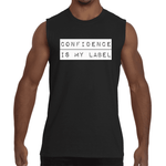 "Black ""CONFIDENCE IS MY LABEL"" Sleeveless T-Shirt"