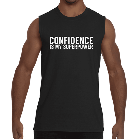 "Black ""CONFIDENCE IS MY SUPERPOWER"" Sleeveless T-Shirt"