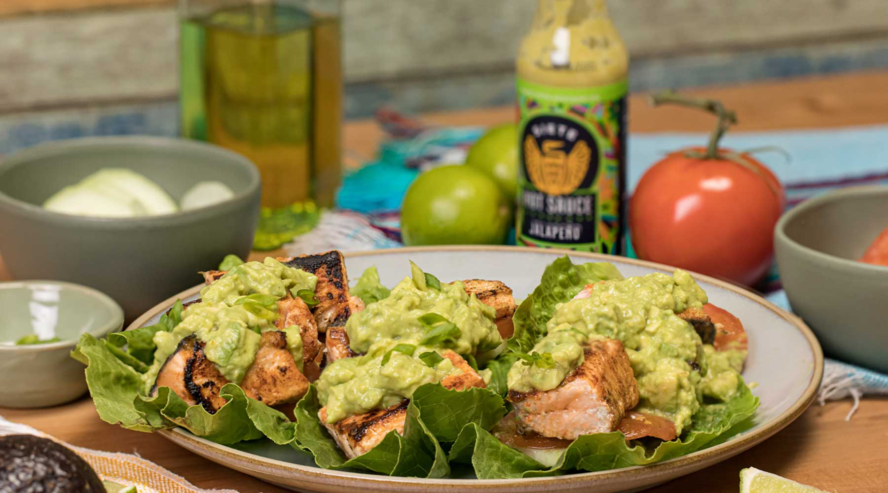 Salmon & Avocado Lettuce Wraps