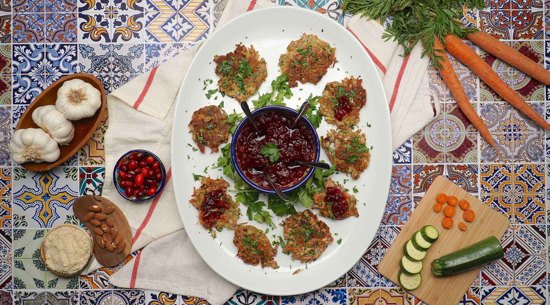 Turkey Fritters & Cranberry Sauce