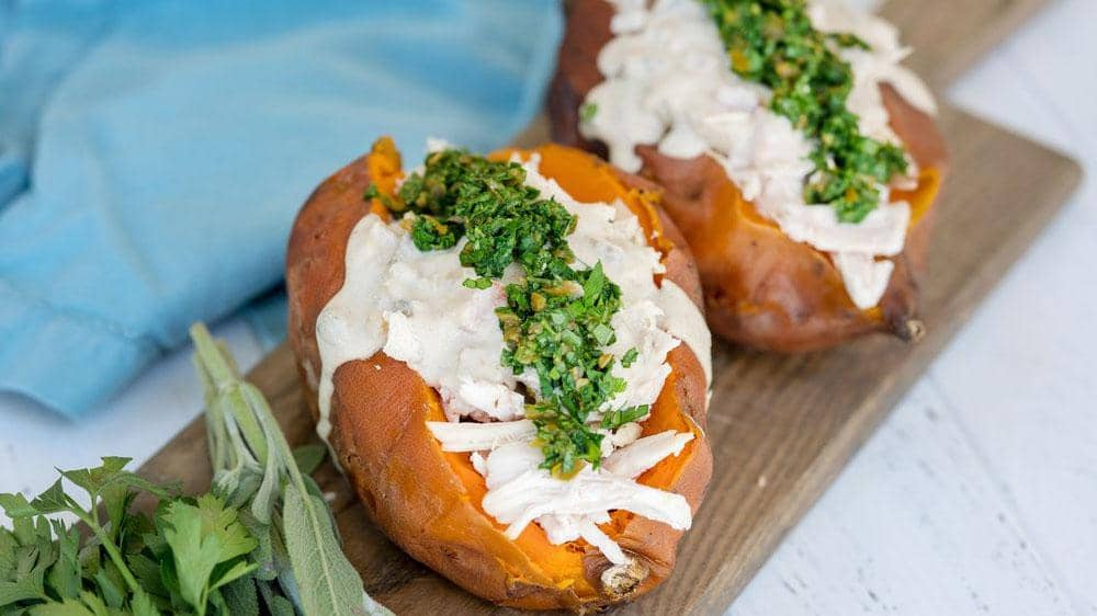 Spicy Blanco Stuffed Sweet Potatoes with Gremolata Topping