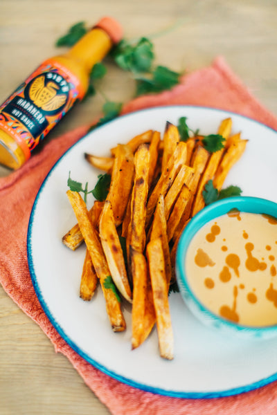 Roasted Sweet Potatoes with Habanero Lime Sauce