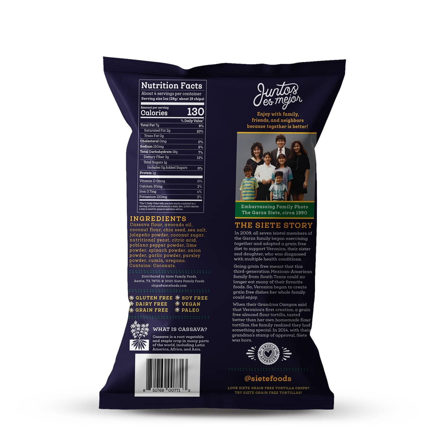 Siete Jalapeño Lime Grain Free Tortilla Chips - Back of bag